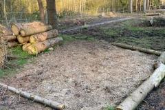 Liegefläche für Pferde unter Bäumen eingestreut mit Miscanthus-Häcksel